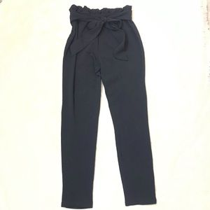 Shein black paper bag waist trouser pants Large